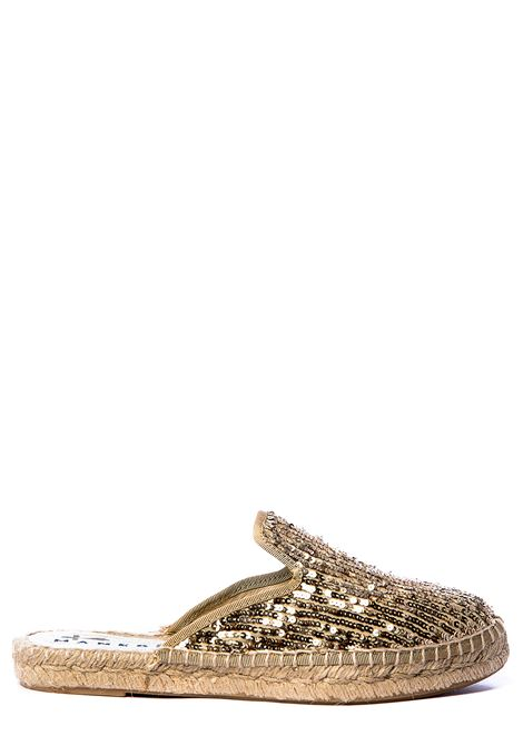 MULES GOLD LOS ANGELES PAILLETTES FABRIC MANEBI | Mules | F8.4ORO