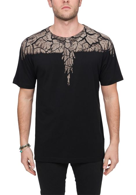 BLACK COTTON T-SHIRT WITH PHOENIX PRINT MARCELO BURLON | T-shirt | CMAA018R20JER0071060