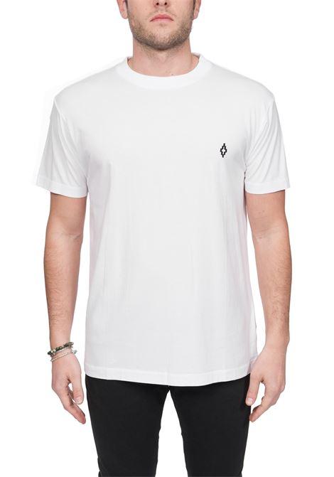T-SHIRT BIANCA CON RICAMO LOGO FRONTALE MARCELO BURLON | T-shirt | CMAA018R20JER0110110