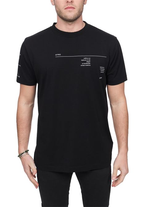 BLACK ABSTRACT COTTON T-SHIRT MARCELO BURLON | T-shirt | CMAA018R20JER0171001