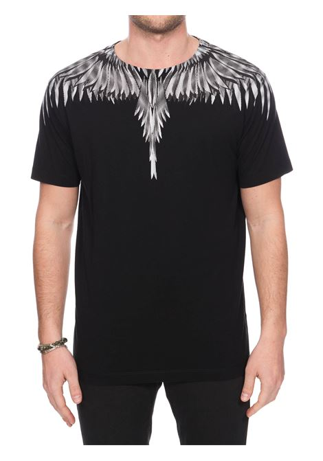 BLACK COTTON T-SHIRT WITH PHOENIX PRINT MARCELO BURLON | T-shirt | CMAA018S20JER0031001