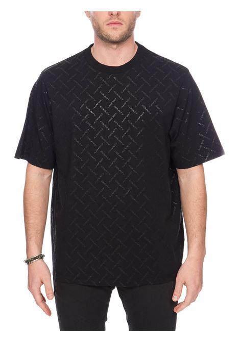 T-SHIRT NERA IN COTONE CON MONOGRAMMA LOGO MARCELO BURLON | T-shirt | CMAA054S20JER0051010