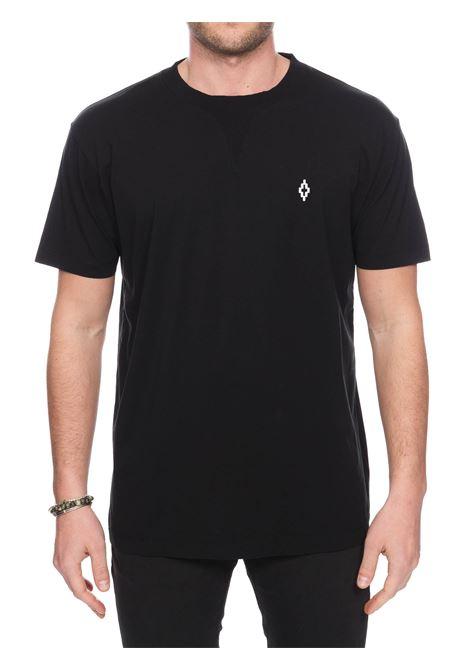 T-SHIRT NERA IN COTONE CON RICAMO LOGO FRONTALE MARCELO BURLON | T-shirt | CMAA070S20JER0011001