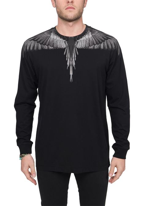 BLACK COTTON T-SHIRT WITH PHOENIX PRINT MARCELO BURLON | T-shirt | CMAB007R20JER0021010