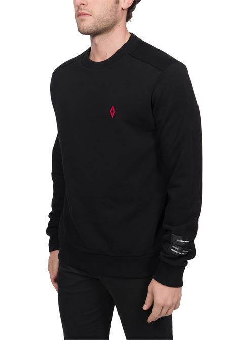 BLACK COTTON SWEATSHIRT WITH LOGO EMBROIDERY AND FLUO PRINT MARCELO BURLON | Sweatshirts | CMBA077R20FLE0011032