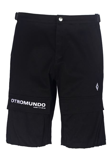 BLACK ORTROMUNDO SHORTS IN COTTON CANVAS MARCELO BURLON | Bermuda Shorts | CMCB055R20FAB0011001