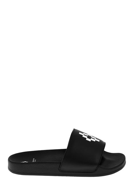 BLACK SLIPPERS WITH FRONT LOGO MARCELO BURLON | Slide Sandals | CMIA027S20PLA0011001