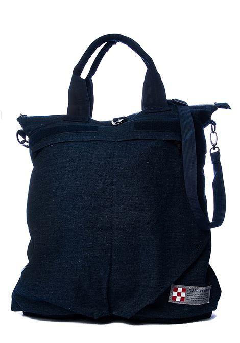 BLUE COTTON HELMUT DENIM BACKPACK WITH FRONT LOGO APPLICATION MC2SAINTBARTH | Backpacks | HELMUTDENIM