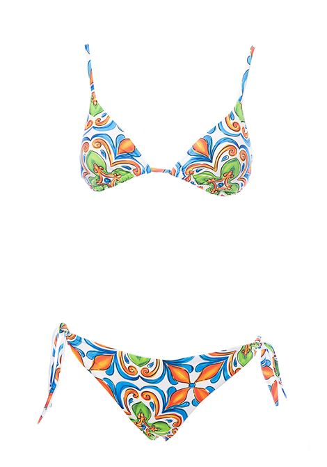 MAJOLICA PRINT TRIANGLE SEA BIKINI 01 MC2SAINTBARTH | Swimsuits | JANETSUMA01+YALISUMA01MULTICOLOR