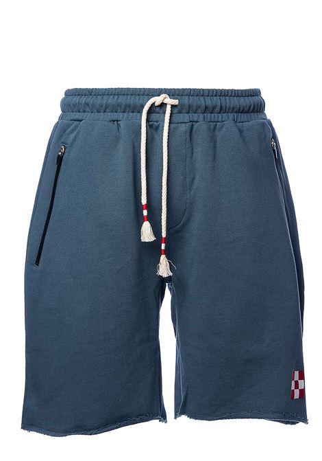 BLUE COTTON BERMUDA WITH FRONT LOGO APPLICATION MC2SAINTBARTH | Bermuda Shorts | RANDLERAWCUTDENIM