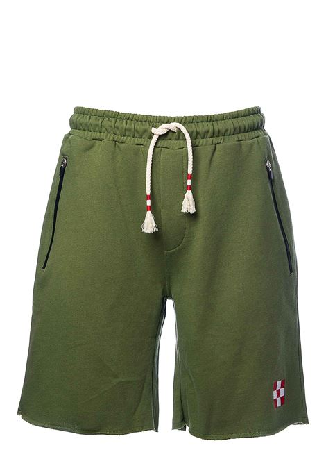 GREEN COTTON BERMUDA WITH FRONT LOGO APPLICATION MC2SAINTBARTH | Bermuda Shorts | RANDLERAWCUTMILITARY
