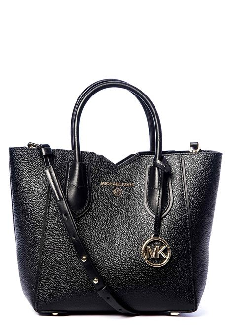 BLACK HAMMERED LEATHER BAG WITH LOGO APPLICATION MICHAEL DI MICHAEL KORS | Bags | 30H9GM5M1L001MAE001