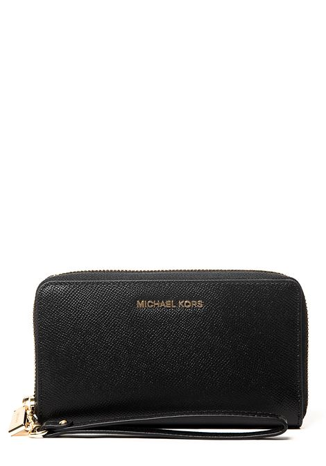 BLACK WALLET IN HAMMERED LEATHER WITH GOLD LOGO APPLICATION MICHAEL DI MICHAEL KORS | Wallets | 32F6GM9E3L001
