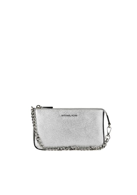 SILVER LEATHER CLUTCH WITH FRONT LOGO MICHAEL DI MICHAEL KORS | Clutches | 32F7MFDW6M040JETSET040