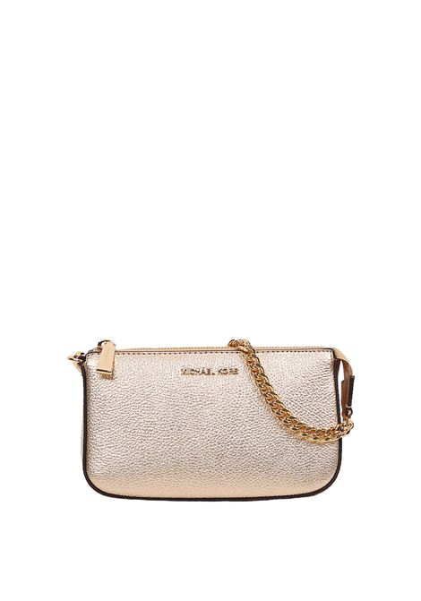 GOLD LEATHER CLUTCH WITH FRONT LOGO MICHAEL DI MICHAEL KORS | Clutches | 32F7MFDW6M740JETSET740