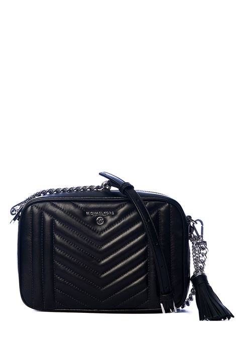 BLACK QUILTED LEATHER BAG WITH SILVER LOGO APPLICATION MICHAEL DI MICHAEL KORS | Bags | 32H9ST9M2T001