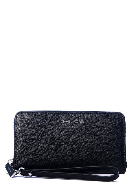 BLACK WALLET IN HAMMERED LEATHER WITH SILVER LOGO APPLICATION MICHAEL DI MICHAEL KORS | Wallets | 32T4STVE3L001