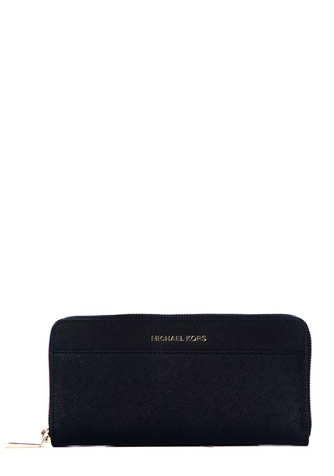 BLACK LEATHER WALLET WITH GOLD LOGO APPLICATION MICHAEL DI MICHAEL KORS | Wallets | 32T7GTVZ3L001