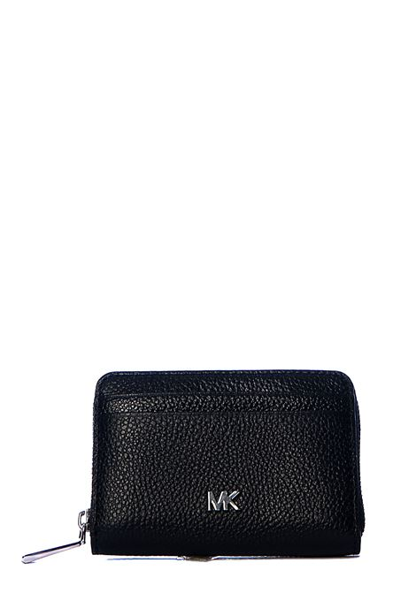BLACK HAMMERED LEATHER WALLET WITH SILVER LOGO APPLICATION MICHAEL DI MICHAEL KORS | Wallets | 32T8SF6Z1L001