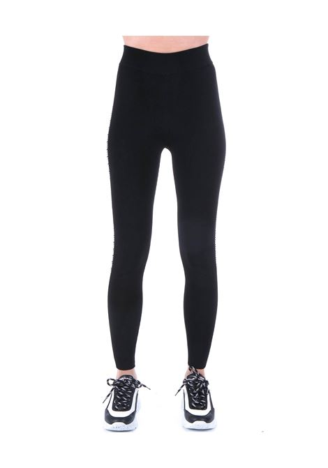 HIGH WAISTED BLACK LEGGINS WITH MONOGRAM LOGO MICHAEL DI MICHAEL KORS | Pants | MH93HB3BVC001