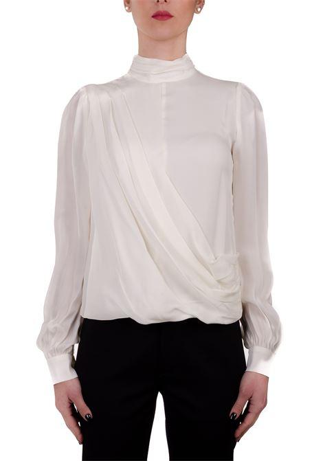 WHITE SILK SHIRT WITH FRONT DRAPING MICHAEL DI MICHAEL KORS | Shirts | MH94LZ6B06110