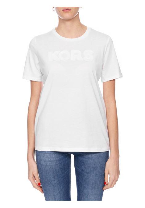 WHITE T-SHIRT WITH FRONT PAILLETTES APPLICATION MICHAEL DI MICHAEL KORS | T-shirt | MH95MB897J100