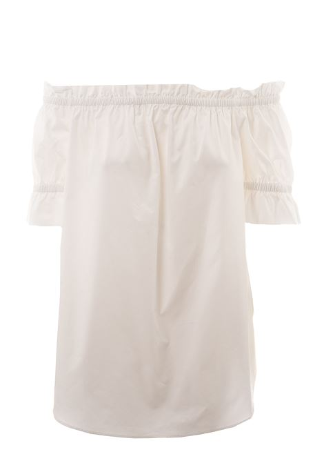 WHITE COTTON TOP WITH ROUCHES DETAIL MICHAEL DI MICHAEL KORS | Tops | MS04M1AE5Y100100