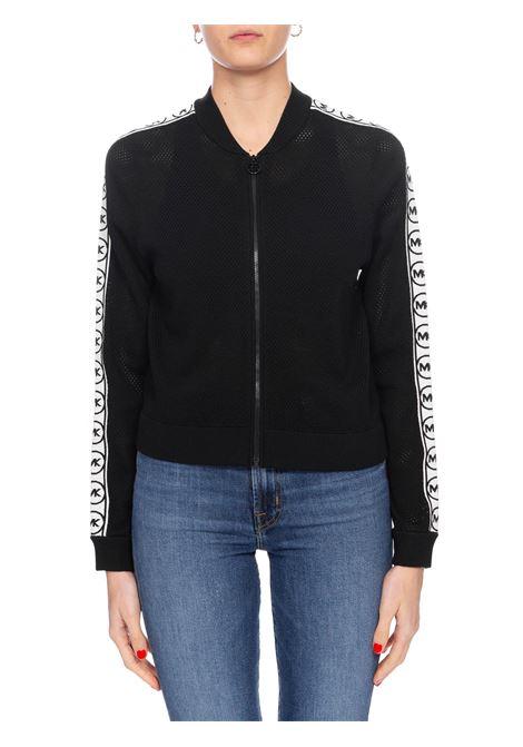 BLACK MESH SWEATSHIRT WITH LOGO STRIPES MICHAEL DI MICHAEL KORS | Sweatshirts | MS06P8L5ZV001001