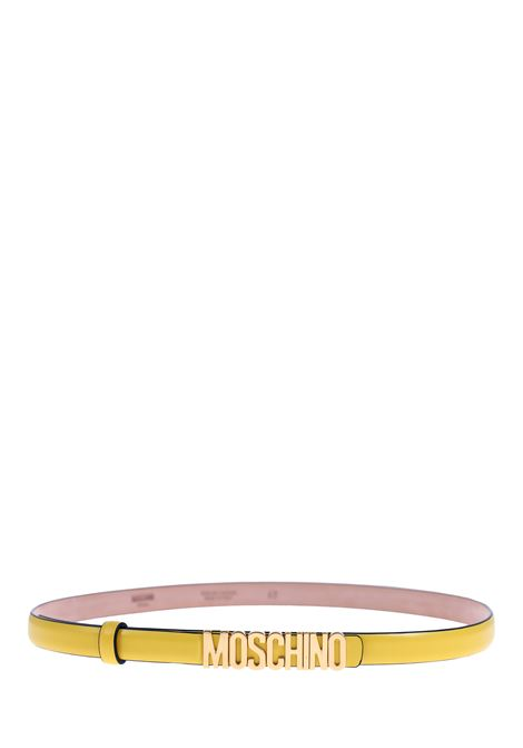 YELLOW BELT WITH GOLD LOGO MOSCHINO | Belts | 80088001028