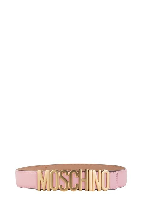 PINK BELT WITH GOLD LOGO MOSCHINO | Belts | 80078001242