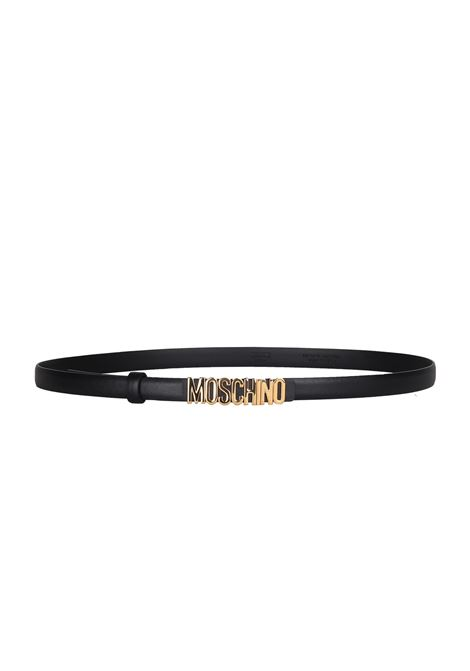 BLACK BELT WITH GOLD LOGO MOSCHINO | Belts | 80088001555