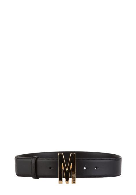 BLACK BELT WITH GOLD LOGO M MOSCHINO | Belts | A801480062555