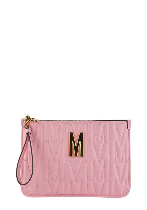 PINK CLUTCH IN QUILTED LEATHER IN LETTER M MOSCHINO | Clutches | 84158002242