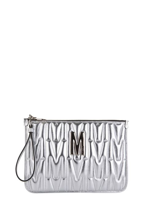 SILVER CLUTCH IN QUILTED LEATHER MOSCHINO | Clutches | 84398011600
