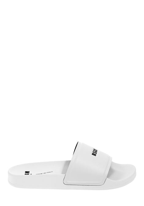 WHITE POOL SLIDE LOW SANDAL WITH LOGO MSGM | Slide Sandals | 2840MS1520873201