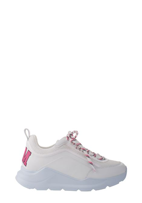 WHITE LOW-TOP SNEAKERS IN SMOOTH LEATHER AND NET MSGM | Sneakers | 2841MDS21127501