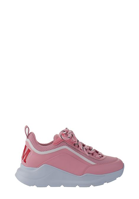 PINK LOW-TOP SNEAKERS IN SMOOTH LEATHER AND NET MSGM | Sneakers | 2841MDS21127512