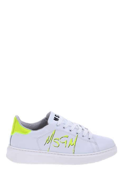 WHITE LEATHER SNEAKERS WITH FLUO YELLOW LOGO PRINT MSGM | Sneakers | 2842MDS170812308
