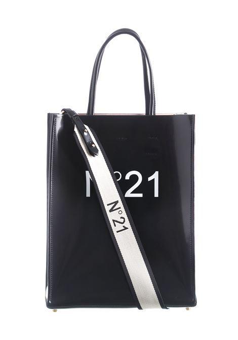 BLACK SHOPPER BAG WITH LOGOED SHOULDER STRAP N°21 | Bags | 20EBP178XNT18N001