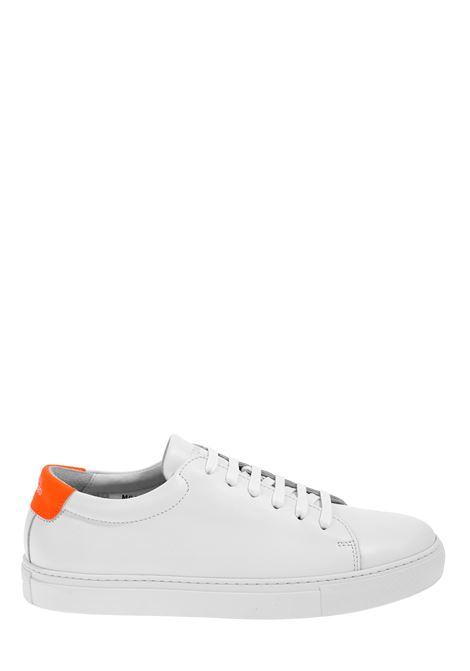 WHITE LEATHER SNEAKERS WITH FLUO DETAILS NATIONALSTANDARD | Sneakers | M0320S037BIANCO/ARANCIO