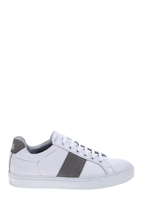 WHITE LEATHER SNEAKERS WITH CONTRAST BAND NATIONALSTANDARD | Sneakers | M0420S007BIANCO/GRIGIO