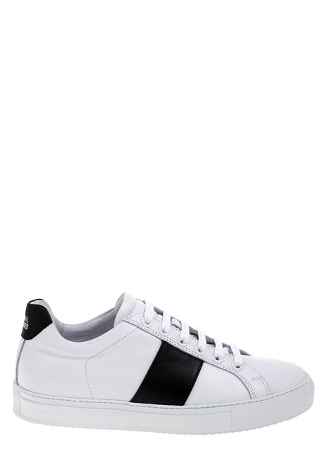 WHITE LEATHER SNEAKERS WITH CONTRAST BAND NATIONALSTANDARD | Sneakers | M04BL009BIANCO/NERO