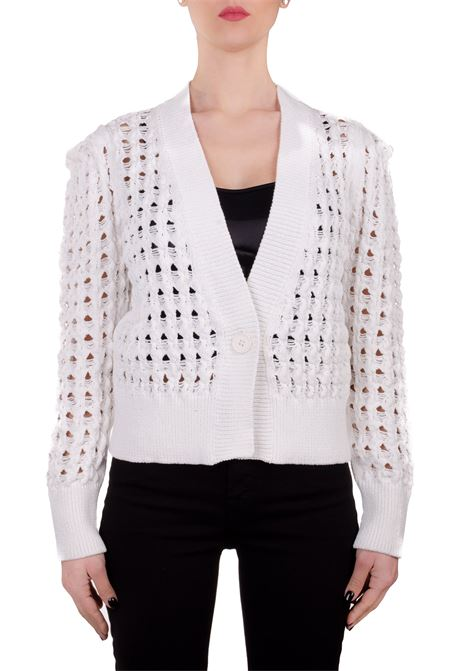 WHITE COTTON BLEND CARDIGA WITH LUREX DETAILS Nude | Cardigans | 110172722