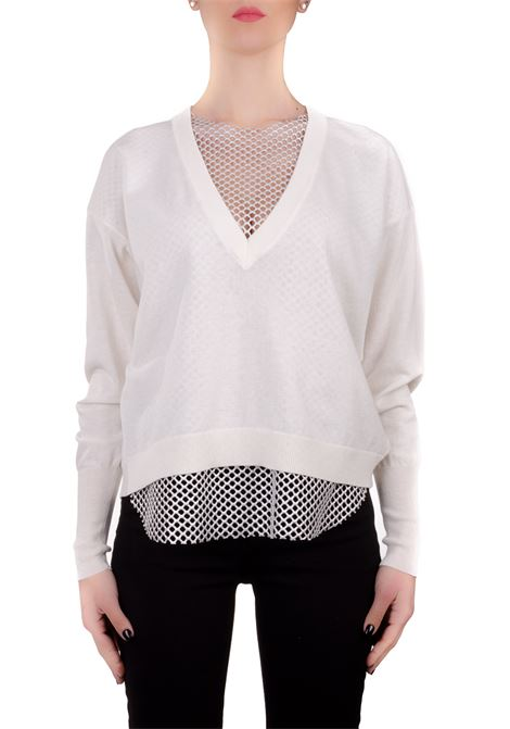 WHITE COTTON SWEATER WITH NET Nude | Sweaters | 110174001