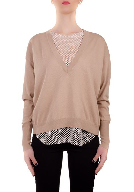 BEIGE COTTON SWEATER WITH NET Nude | Sweaters | 1101740243