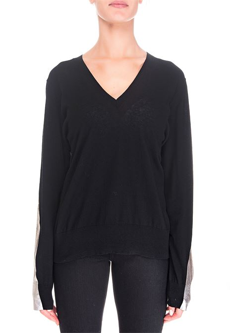 BLACK SWEATER WITH SILVER BANDS Nude | Sweaters | 110174109