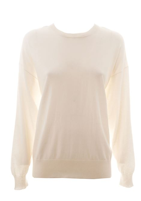 WHITE COTTON SWEATER WITH SILVER BAND DETAIL ON THE BACK Nude | Sweaters | 110174201
