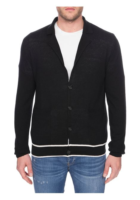 KNITTED BLACK CARDIGAN PAOLO PECORA | Cardigans | A04375609000