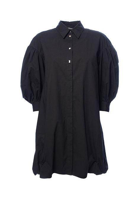 BLACK SHORT DRESS CHEMISIER I AM UNIQUE IN COTTON POPLIN PINKO | Dress | COLTAIQ10275036NERO