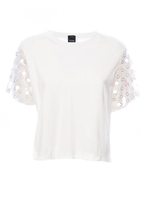 WHITE T-SHIRT CYBORG WITH MAXI PAILLETTES ON COTTON JERSEY SLEEVES PINKO | T-shirt | CYBORGIB14EA5071Z05